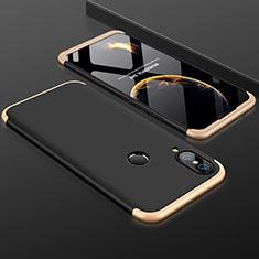 Funda Dura Plastico Rigida Carcasa Mate Frontal y Trasera 360 Grados para Huawei P20 Lite Oro y Negro