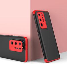 Funda Dura Plastico Rigida Carcasa Mate Frontal y Trasera 360 Grados para Huawei P40 Pro Rojo y Negro