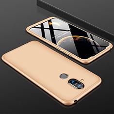 Funda Dura Plastico Rigida Carcasa Mate Frontal y Trasera 360 Grados para Nokia 7.1 Plus Oro