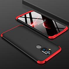 Funda Dura Plastico Rigida Carcasa Mate Frontal y Trasera 360 Grados para Nokia 7.1 Plus Rojo y Negro