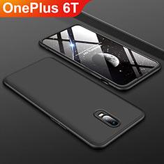 Funda Dura Plastico Rigida Carcasa Mate Frontal y Trasera 360 Grados para OnePlus 6T Negro