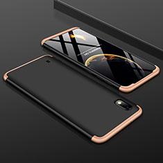 Funda Dura Plastico Rigida Carcasa Mate Frontal y Trasera 360 Grados para Samsung Galaxy A10 Oro y Negro