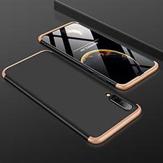 Funda Dura Plastico Rigida Carcasa Mate Frontal y Trasera 360 Grados para Samsung Galaxy A50 Oro y Negro