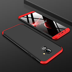 Funda Dura Plastico Rigida Carcasa Mate Frontal y Trasera 360 Grados para Samsung Galaxy A6 (2018) Dual SIM Rojo y Negro