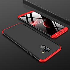 Funda Dura Plastico Rigida Carcasa Mate Frontal y Trasera 360 Grados para Samsung Galaxy A6 (2018) Rojo y Negro