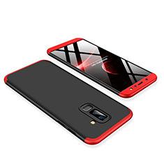 Funda Dura Plastico Rigida Carcasa Mate Frontal y Trasera 360 Grados para Samsung Galaxy A6 Plus (2018) Rojo y Negro