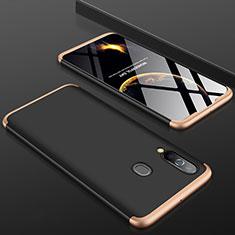 Funda Dura Plastico Rigida Carcasa Mate Frontal y Trasera 360 Grados para Samsung Galaxy A60 Oro y Negro