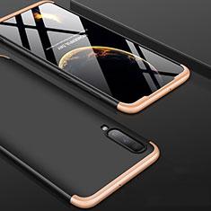 Funda Dura Plastico Rigida Carcasa Mate Frontal y Trasera 360 Grados para Samsung Galaxy A70 Oro y Negro