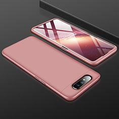 Funda Dura Plastico Rigida Carcasa Mate Frontal y Trasera 360 Grados para Samsung Galaxy A80 Oro Rosa