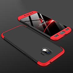 Funda Dura Plastico Rigida Carcasa Mate Frontal y Trasera 360 Grados para Samsung Galaxy J2 Pro (2018) J250F Rojo y Negro