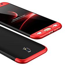 Funda Dura Plastico Rigida Carcasa Mate Frontal y Trasera 360 Grados para Samsung Galaxy J5 (2017) Duos J530F Rojo y Negro