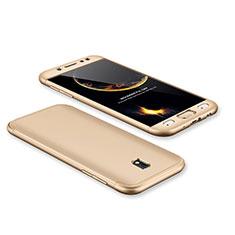 Funda Dura Plastico Rigida Carcasa Mate Frontal y Trasera 360 Grados para Samsung Galaxy J7 Pro Oro