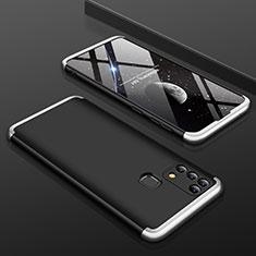 Funda Dura Plastico Rigida Carcasa Mate Frontal y Trasera 360 Grados para Samsung Galaxy M21s Plata y Negro