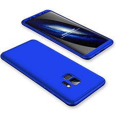 Funda Dura Plastico Rigida Carcasa Mate Frontal y Trasera 360 Grados para Samsung Galaxy S9 Azul