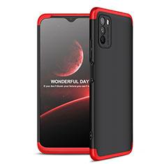 Funda Dura Plastico Rigida Carcasa Mate Frontal y Trasera 360 Grados para Xiaomi Poco M3 Rojo y Negro