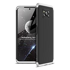 Funda Dura Plastico Rigida Carcasa Mate Frontal y Trasera 360 Grados para Xiaomi Poco X3 NFC Plata y Negro