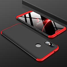 Funda Dura Plastico Rigida Carcasa Mate Frontal y Trasera 360 Grados para Xiaomi Redmi 6 Pro Rojo y Negro