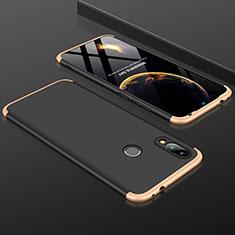 Funda Dura Plastico Rigida Carcasa Mate Frontal y Trasera 360 Grados para Xiaomi Redmi 7 Oro y Negro