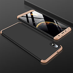 Funda Dura Plastico Rigida Carcasa Mate Frontal y Trasera 360 Grados para Xiaomi Redmi 7A Oro y Negro