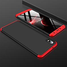 Funda Dura Plastico Rigida Carcasa Mate Frontal y Trasera 360 Grados para Xiaomi Redmi 7A Rojo y Negro