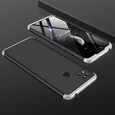 Funda Dura Plastico Rigida Carcasa Mate Frontal y Trasera 360 Grados para Xiaomi Redmi 9 India Plata y Negro