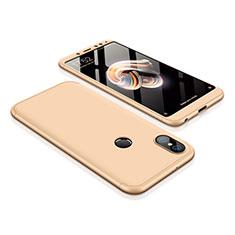 Funda Dura Plastico Rigida Carcasa Mate Frontal y Trasera 360 Grados para Xiaomi Redmi Note 5 Pro Oro