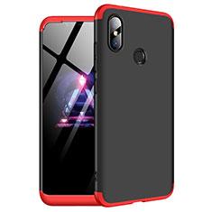 Funda Dura Plastico Rigida Carcasa Mate Frontal y Trasera 360 Grados para Xiaomi Redmi Note 6 Pro Rojo y Negro