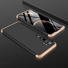 Funda Dura Plastico Rigida Carcasa Mate Frontal y Trasera 360 Grados R01 para Xiaomi Mi Note 10 Oro y Negro