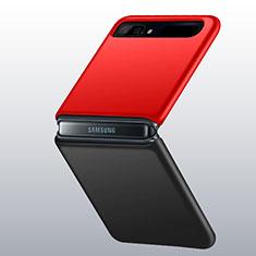 Funda Dura Plastico Rigida Carcasa Mate M01 para Samsung Galaxy Z Flip Rojo y Negro