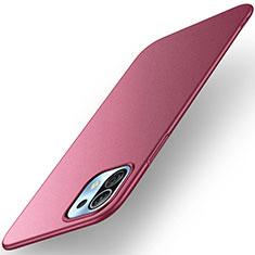 Funda Dura Plastico Rigida Carcasa Mate M01 para Xiaomi Mi 11 5G Rojo Rosa
