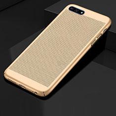 Funda Dura Plastico Rigida Carcasa Perforada para Huawei Enjoy 8e Oro