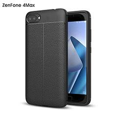 Funda Dura Plastico Rigida de Cuero para Asus Zenfone 4 Max ZC554KL Negro