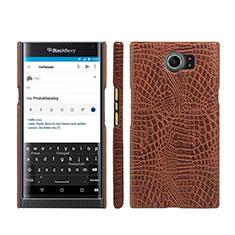 Funda Dura Plastico Rigida de Cuero para Blackberry Priv Marron