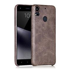 Funda Dura Plastico Rigida de Cuero para HTC Desire 10 Pro Marron