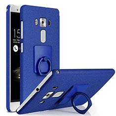 Funda Dura Plastico Rigida Fino Arenisca con Anillo de dedo Soporte para Asus Zenfone 3 Deluxe ZS570KL ZS550ML Azul