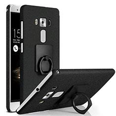 Funda Dura Plastico Rigida Fino Arenisca con Anillo de dedo Soporte para Asus Zenfone 3 Deluxe ZS570KL ZS550ML Negro