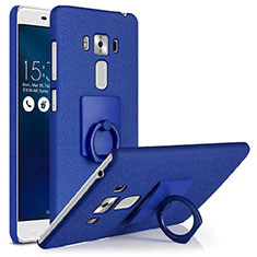 Funda Dura Plastico Rigida Fino Arenisca con Anillo de dedo Soporte para Asus Zenfone 3 Laser Azul