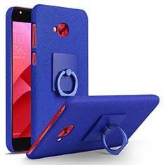 Funda Dura Plastico Rigida Fino Arenisca con Anillo de dedo Soporte para Asus Zenfone 4 Selfie Pro Azul