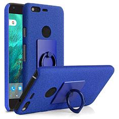 Funda Dura Plastico Rigida Fino Arenisca con Anillo de dedo Soporte para Google Pixel XL Azul