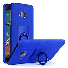 Funda Dura Plastico Rigida Fino Arenisca con Anillo de dedo Soporte para HTC U Play Azul