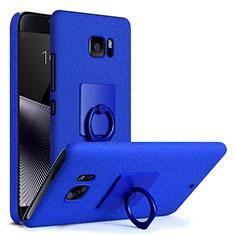 Funda Dura Plastico Rigida Fino Arenisca con Anillo de dedo Soporte para HTC U Ultra Azul