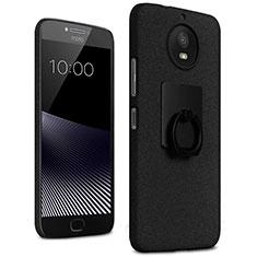 Funda Dura Plastico Rigida Fino Arenisca con Anillo de dedo Soporte para Motorola Moto G5S Negro