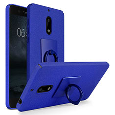 Funda Dura Plastico Rigida Fino Arenisca con Anillo de dedo Soporte para Nokia 6 Azul