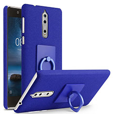 Funda Dura Plastico Rigida Fino Arenisca con Anillo de dedo Soporte para Nokia 8 Azul