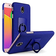 Funda Dura Plastico Rigida Fino Arenisca con Anillo de dedo Soporte para Samsung Galaxy J7 (2017) SM-J730F Azul