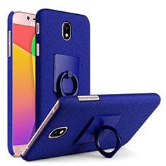 Funda Dura Plastico Rigida Fino Arenisca con Anillo de dedo Soporte para Samsung Galaxy J7 Pro Azul