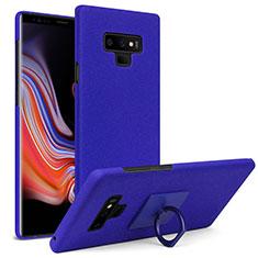 Funda Dura Plastico Rigida Fino Arenisca con Anillo de dedo Soporte para Samsung Galaxy Note 9 Azul
