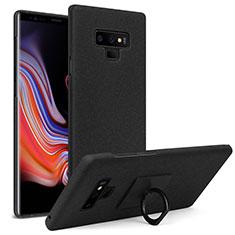 Funda Dura Plastico Rigida Fino Arenisca con Anillo de dedo Soporte para Samsung Galaxy Note 9 Negro