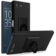 Funda Dura Plastico Rigida Fino Arenisca con Anillo de dedo Soporte para Sony Xperia X Compact Negro