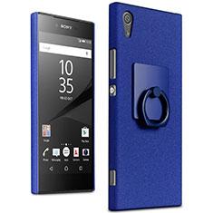 Funda Dura Plastico Rigida Fino Arenisca con Anillo de dedo Soporte para Sony Xperia XA1 Ultra Azul
